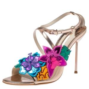 Sophia Webster Rose Gold Foil Leather Hula Floral Embellished Crisscross Sandals Size 38