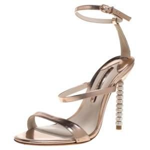 Sophia Webster Rose Gold Leather Rosalind Crystal Heel Ankle Strap Sandals Size 38