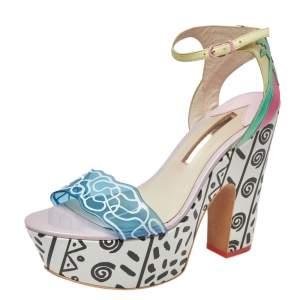 Sophia Webster Multicolor Leather And PVC Jade Malibu Platform Sandals Size 40