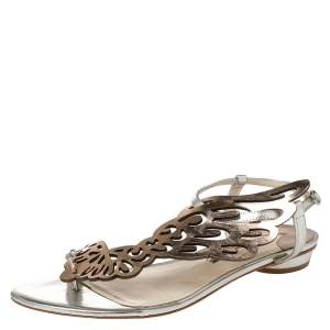 Sophia Webster Metallic Bronze And Silver Leather Seraphina Angel Wing Flat Sandals Size 40