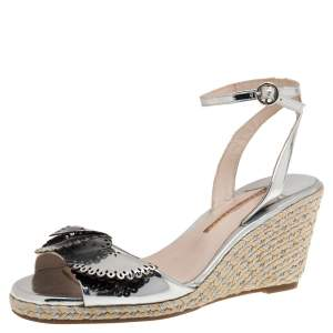 Sophia Webster Silver Patent Leather Soleil Lucita Espadrille-Wedge Sandals Size 40
