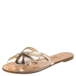 Sophia Webster Metallic Rose Gold Leather And PVC Madame Butterfly Flat Slides Size 37