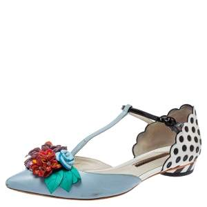 Sophia Webster Blue Leather Nina T- Strap Flat Sandals Size 39.5