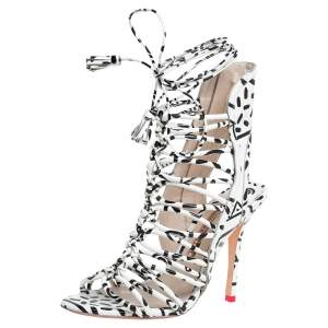 Sophia Webster White/Black Leather Lacey Tie Up Sandals Size 37