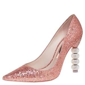 Sophia Webster Pink Glitter Coco Crystal Embellished Major Pointed Toe Pumps Size 38