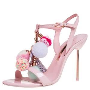 Sophia Webster Pink Patent Leather Layla Pom Pom Embellished T Strap Sandals Size 38