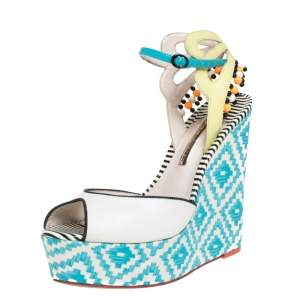 Sophia Webster Multicolor Printed Canvas and Leather Wedge Sandals Size 40