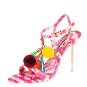 Sophia Webster Pink and White Patent Leather Layla Pom Pom Embellished T Strap Sandals Size 37