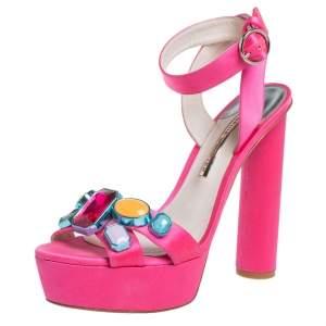 Sophia Webster Pink Satin Amanda Crystal Embellished Platform Ankle Strap Sandals Size 40