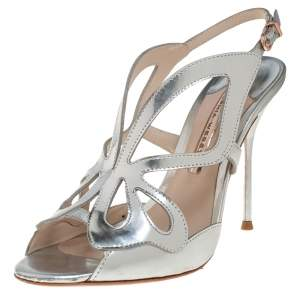 Sophia Webster Silver Leather Madame Butterfly Sandals Size 38