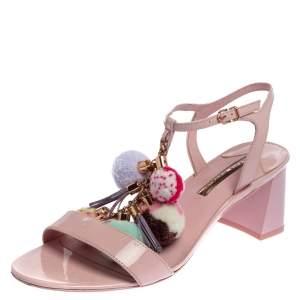Sophia Webster Pink Patent Leather Juno Pom Pom Embellished Ankle Strap Sandals Size 41