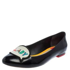 Sophia Webster Black Patent Leather Boss Lady Ballet Flats Size 40