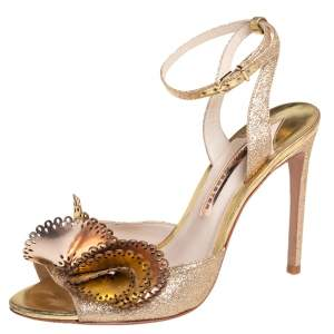 Sophia Webster Metallic Gold Leather and Shimmery Fabric Ankle Strap Sandals Size 39