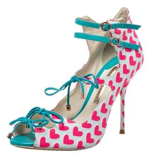 Sophia Webster Pink/Blue Heart Print Canvas And Patent Leather Sandals Size 38.5
