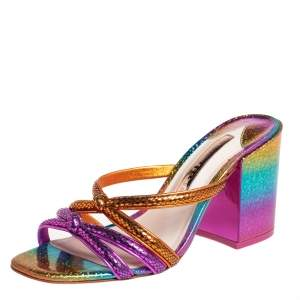 Sophia Webster Multicolor Python Embossed Leather Block Heel Slide Sandals Size 37.5