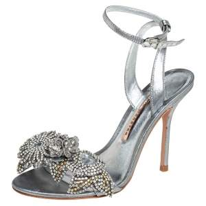 Sophia Webster Silver Leather Crystal Embellished Slingback Sandals Size 36.5