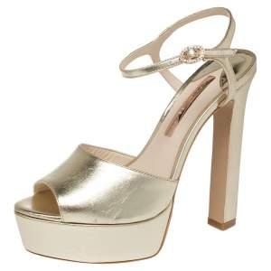 Sophia Webster Gold Leather Natalia Platform Ankle Strap Sandals Size 40