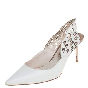 Sophia Webster White Leather Angel Wing Slingback Mules Size 39