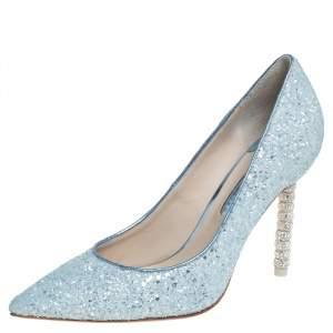 حذاء كعب عالي سوفيا وبستر غليتر أزرق كوكو مقدمة مدببة مقاس 38