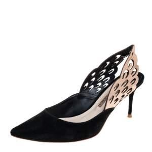 Sophia Webster Black/Metallic Bronze Suede And Leather Angelo Slingback Sandals Size 38.5