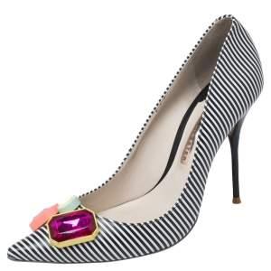 Sophia Webster Black/White Stripe Leather Lola Gem Pointed Toe Pumps Size 40