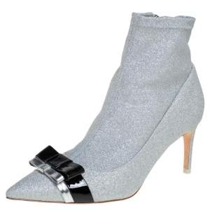Sophia Webster Silver Glitter Fabric Andie Bow Ankle Booties Size 38