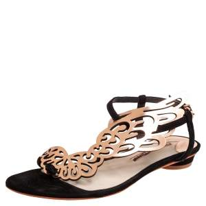 Sophia Webster Gold/Black Patent Leather And Suede Bibi Butterfly Flat Sandals Size 38