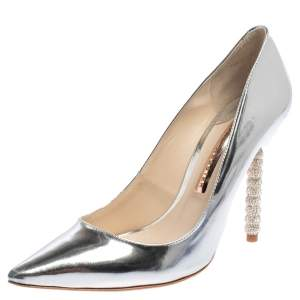 Sophia Webster Metallic Silver Patent Leather Coco Embellished Pointed Toe Pumps Size 38.5