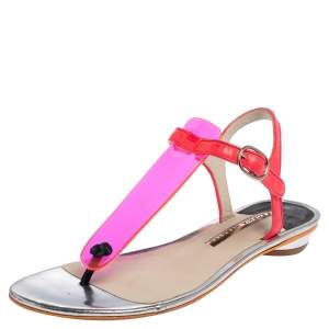 Sophia Webster Pink PVC And Leather Thong Flat Sandals Size 38
