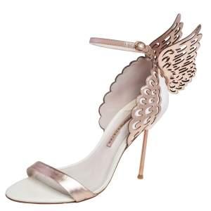 Sophia Webster White/Rose Gold Leather Evangeline Laser Cut Angel Wing Ankle Strap Sandals Size 40.5