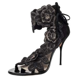 Sophia Webster Black Lace And Suede Winona Floral Embroidered Ankle Cuff Sandals Size 41