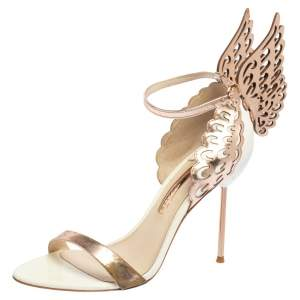 Sophia Webster White/Rose Gold Leather Evangeline Laser Cut Angel Wing Ankle Strap Sandals Size 39