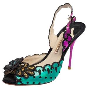 Sophia Webster Multicolor Suede and Coated Fabric Floral Applique Slingback Sandals Size 39
