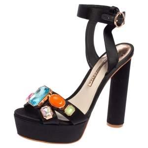Sophia Webster Black Satin Amanda Gem Platform Sandals Size 38