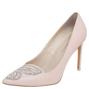 Sophia Webster Pink Leather Bibi Butterfly Pointed Toe Pumps Size 38