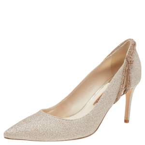 Sophia Webster Metallic Gold Glitter Giovanna Pointed Toe Pumps Size 37.5