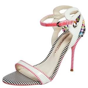 Sophia Webster Multicolor Striped Leather Ankle Strap Open Toe Sandals Size 39.5