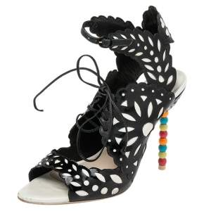 Sophia Webster Black/White Patent Leather and Leather Cutout Sandals Size 39.5