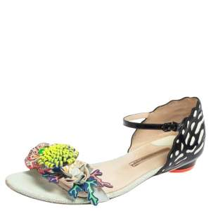 Sophia Webster Multicolor Patent Leather And Leather Lilico Floral Embellished Flat Sandals Size 41