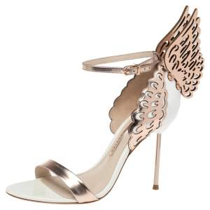 Sophia Webster Rose Gold Leather And White Evangeline Open Toe Sandals Size 38