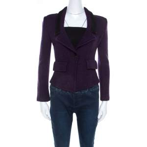 St. John Purple Tweed Boucle Cropped Blazer S