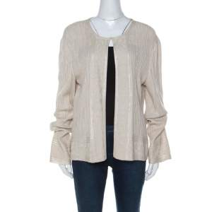 St. John Beige Rib Knit Embellished Open Cardigan XL