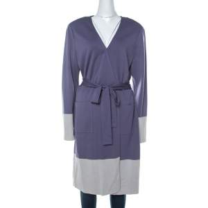 St. John Purple Knit Padded Shoulder Detail Belted Cardigan XL