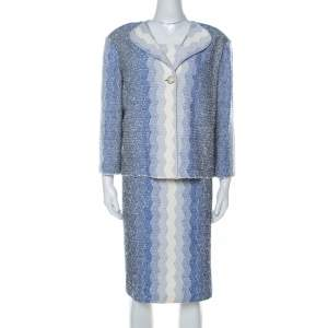 St. John Blue and White Chevron Pattern Tweed Dress and Jacket Set XL
