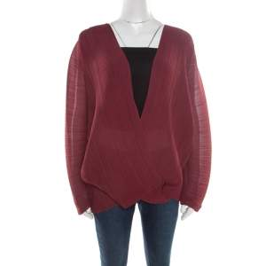 Stella McCartney Bordeaux Plisse Wrap Top S