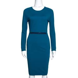 Stella McCartney Teal Stretch Knit Embellished Sheath Dress S