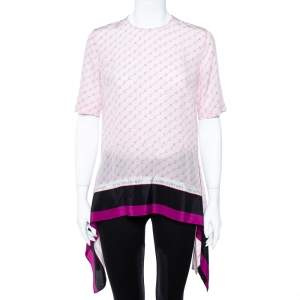 Stella McCartney Pink Monogram Print Silk Blouse S