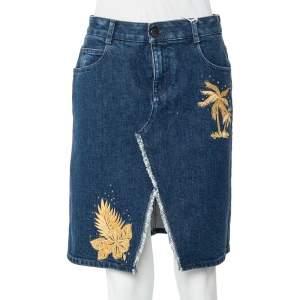 Stella Mcartney Navy Blue Embroidered Denim Frayed Slit Detail Mini Skirt S