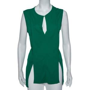 Stella McCartney Green Jersey Pleated Front Detail Top M