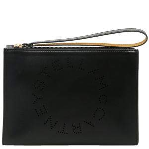 Stella McCartney Black Leather Flap Zip Logo Clutch